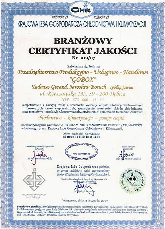 Certyfikaty 15