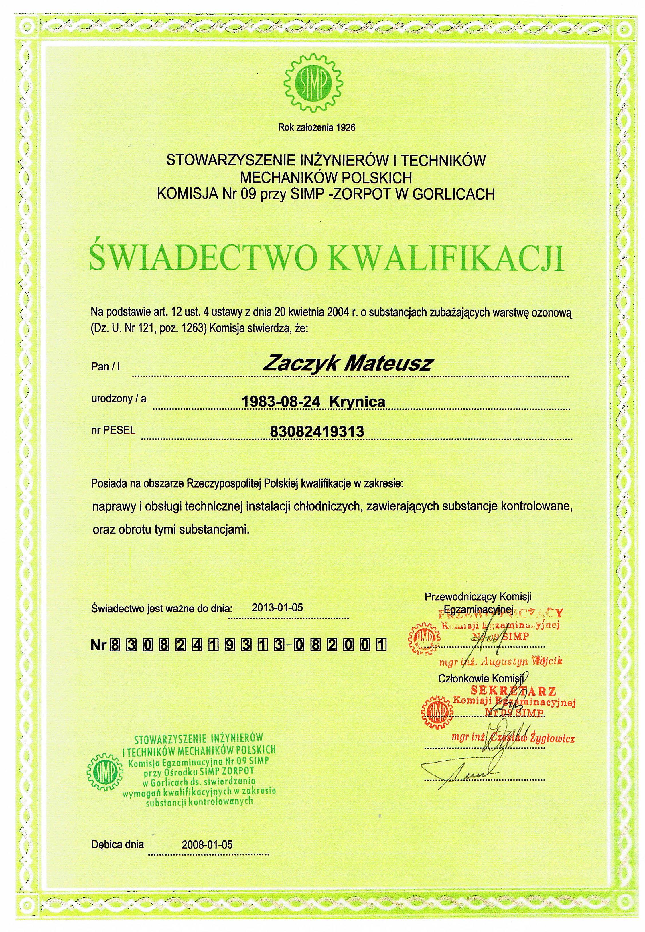 Certyfikaty 11